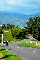 St Peter's College u20 girls in action during the 2017 NZ Schools Road Cycling championships day one team time trials at Koputaroa Road near Levin, New Zealand on Saturday, 30 September 2017. Photo: Dave Lintott / lintottphoto.co.nz