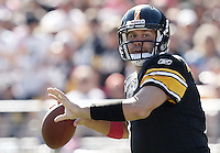 PITTSBURGH, PA - OCTOBER 09:  Ben Roethlisberger #7 of the Pittsburgh Steelers drops back to pass against the Tennessee Titans during the game on October 9, 2011 at Heinz Field in Pittsburgh, Pennsylvania.  (Photo by Jared Wickerham/Getty Images)