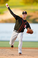 Delmarva Shorebirds starting pitcher Dylan Bundy #7 in action against the Kannapolis Intimidators at CMC-Northeast Stadium on April 11, 2012 in Kannapolis, North Carolina.  (Brian Westerholt/Four Seam Images)