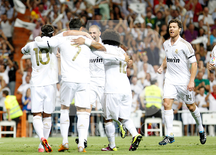 Real Madrid's Mesut Ozil, Cristiano Ronaldo, Karim Benzema, Marcelo Vieira and Xabi Alonso celebrates goal during Spanish Supercup 1st match.August 14,2011. (ALTERPHOTOS/Acero)
