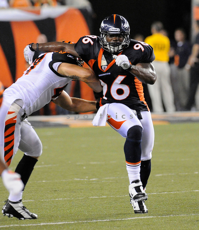 JOE MAYS, of the Denver Broncos  in action during the Broncos game against the Cincinnati Bengals at Paul Brown Stadium in Cincinnati, OH.  on August 20, 2010.  The Bengals beat the Broncos 22-9 in the second week of preseason games...