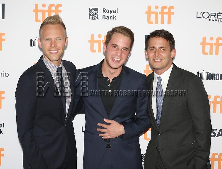 Benj Pasek, Ben Platt and Justin Paul attends the 'La La Land' Premiere during the 2016 Toronto International Film Festival at Princess of