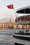 Istanbul, Turkey, Eminonu ferry dock, Golden Horn, Galata Tower, Bosphorus, Turkish flag,