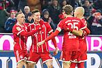10.02.2018, Allianz Arena, Muenchen, GER, 1.FBL,  FC Bayern Muenchen vs. FC Schalke 04, im Bild Jubel nach dem Tor zum 1-0 durch Robert Lewandowski (FCB #9) mit Franck Ribery (FCB #7) Thomas Mueller (FCB #25) Arjen Robben (FCB #10) <br /> <br />  Foto &copy; nordphoto / Straubmeier