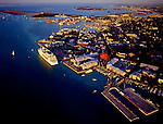 Aerial of the KeyWest at sunset with cruiseship