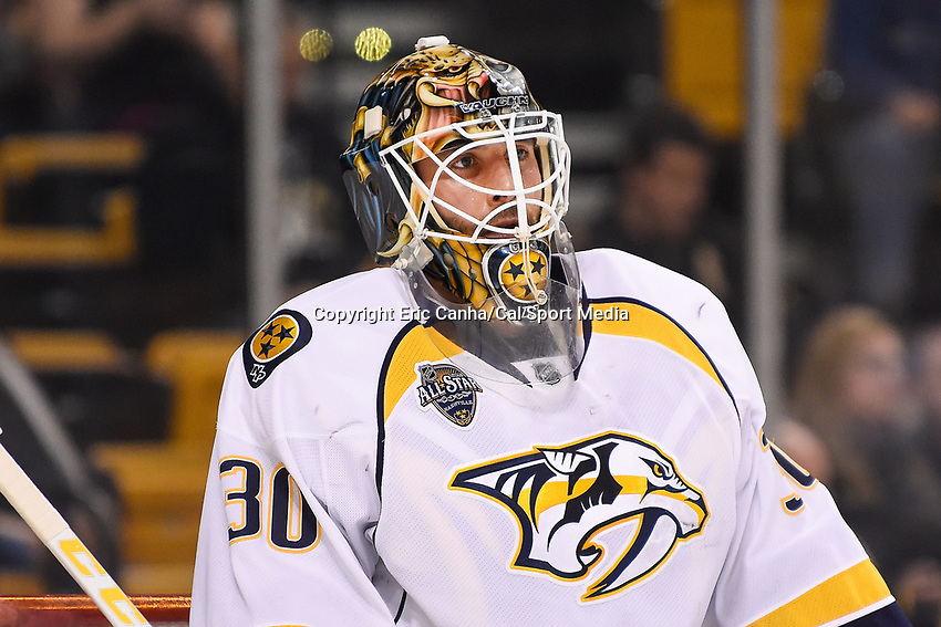 Monday, December 7, 2015: Nashville Predators goalie Carter Hutton (30) warms up before the National Hockey League game between the Nashville Predators and the Boston Bruins held at TD Garden, in Boston, Massachusetts. The Predators defeat the Bruins 3-2 in regulation time. Eric Canha/CSM