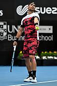 11th January 2018, Sydney Olympic Park Tennis Centre, Sydney, Australia; Sydney International Tennis,quarter final; Fabio Fognini (ITA) prepares to serve in his match against Adrian Mannarino (ITA)