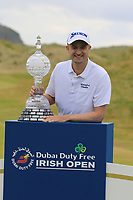 Russell Knox (SCO) wins the tournament on the playoff 18th green at the end of Sunday's Final Round of the 2018 Dubai Duty Free Irish Open, held at Ballyliffin Golf Club, Ireland. 8th July 2018.<br /> Picture: Eoin Clarke | Golffile<br /> <br /> <br /> All photos usage must carry mandatory copyright credit (&copy; Golffile | Eoin Clarke)