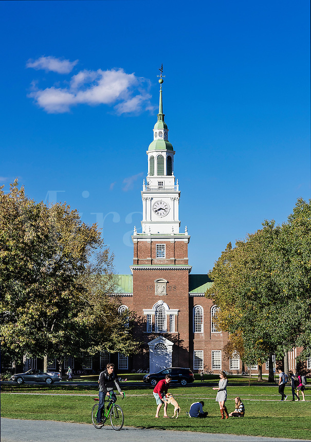 Baker Library tower and campus life at Dartmouth University, Hanover, New Hampshire, USA