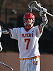 Regan Quinn #7 of Chaminade reacts after the Flyers scored a goal in the third quarter of a Nassau-Suffolk CHSAA varsity boys lacrosse game against St. Anthony's at Chaminade High School on Wednesday, April 5, 2017. He scored three goals in the first half. Chaminade won by a score of 12-6.
