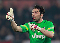 Gianluigi Buffon  during the Italian Serie A soccer match between   AS Roma and Juventus FC       at Olympic Stadium      in Rome ,March 02 , 2015