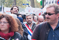 September 23 2017, Paris, France - Demonstration against the Reform of Labour Law led by the French politician Jean-Luc Melenchon Leader of 'La France Insoumise'. Alexis Corbiere spokesman of Melenchon present at the demonstration. # MANIFESTATION CONTRE LA LOI TRAVAIL EN FRANCE