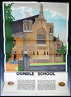 BNPS.co.uk (01202 558833)<br /> Pic:   LindsayBurns&Co/BNPS<br /> <br /> Poster advertising Oundle School in Northants.<br /> <br /> A collection of stylish vintage railway posters which celebrate the golden age of the seaside package holiday have been unearthed during a house clearance.<br /> <br /> The colourful 1950s posters were discovered under a pile of knick-knacks at the back of a cupboard in a deceased elderly couple's flat in Perthshire, east Scotland.<br /> <br /> They include a racy image of a lady in a bikini promoting the resort of Mablethorpe, Lincs, and a sweet picture of a mother playing with her young child on the beach at Bognor Regis, West Sussex.<br /> <br /> In total, eight posters produced by British Railways will go under the hammer with auction house Lindsay Burns & Co of Perth, where they are expected to fetch £1,000.