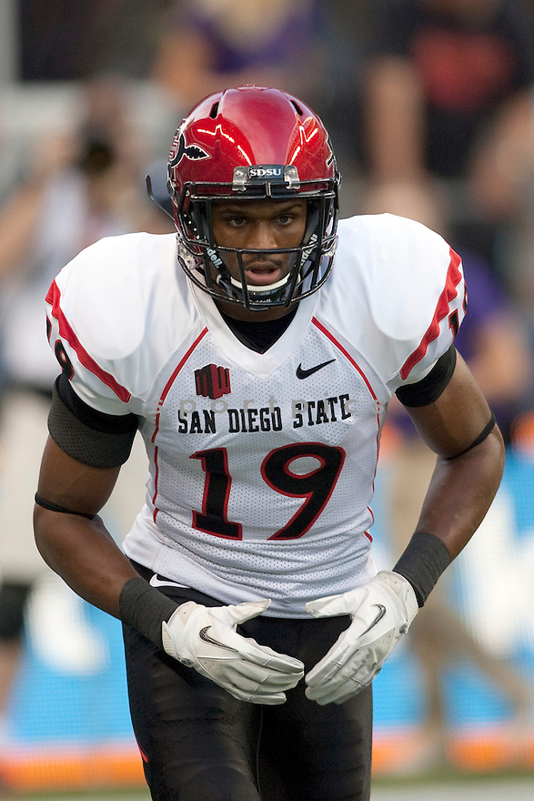 San Diego State Aztecs Brice Butler (19) in action during a game against the Washington Huskies on September 1, 2012 at Qualcomm Stadium in Seattle, WA. Washington beat SDSU 21-12.
