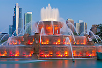 Buckingham Fountain (1927) at dusk; Chicago, IL