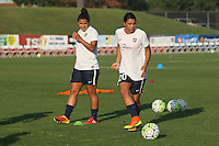 Piscataway, NJ - Saturday Aug. 27, 2016: Raquel Rodriguez, Samantha Kerr prior to a regular season National Women's Soccer League (NWSL) match between Sky Blue FC and the Chicago Red Stars at Yurcak Field.