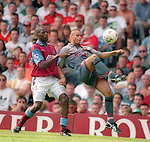 John O'Kane of Manchester Utd and Ian Taylor of Aston Villa - Barclays Premier League - Aston Villa v Manchester Utd - Villa Park Stadium - Birmingham - England - 19th August 1995 - Picture Sportimage
