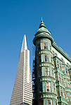 California: San Francisco, North Beach. Historic Zoetrope Building with Transamerica Pyramid in backgrond. Photo #: san-francisco-north-beach-18-casanf79220. Photo copyright Lee Foster.