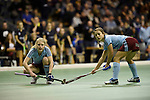 Berlin, Germany, January 31: During the 1. Bundesliga Damen Hallensaison 2014/15 semi-final hockey match between Uhlenhorster HC (light blue) and Duesseldorfer HC (dark blue) on January 31, 2015 at the Final Four tournament at Max-Schmeling-Halle in Berlin, Germany. Final score 4-7 (1-3). (Photo by Dirk Markgraf / www.265-images.com) *** Local caption ***