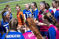 NWA Democrat-Gazette/CHARLIE KAIJO Rogers High School players put their hands together before the semifinals of the 7A Girls State Soccer Tournament, Saturday, May 12, 2018 at Whitey Smith Stadium at Rogers High School in Rogers. Rogers advanced to the finals when midfielder Skylurr Patrick (3) scored both of Rogers' goals defeating Southside High School, 2-1.