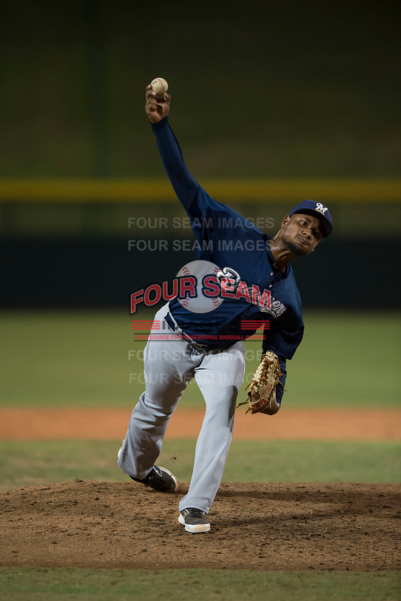 AZL Brewers relief pitcher Johan Dominguez (47) delivers a pitch during an Arizona League game against the AZL Cubs 1 at Sloan Park on June 29, 2018 in Mesa, Arizona. The AZL Cubs 1 defeated the AZL Brewers 7-1. (Zachary Lucy/Four Seam Images)