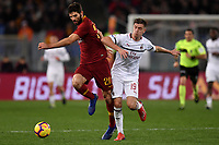 Federico Fazio of AS Roma and Krzysztof Piatek of AC Milan compete for the ball during the Serie A 2018/2019 football match between AS Roma and AC Milan at stadio Olimpico, Roma, February 3, 2019 <br />  Foto Andrea Staccioli / Insidefoto
