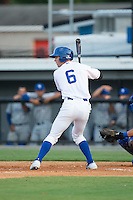 Ben Johnson (6) of the Burlington Royals at bat against the Bluefield Blue Jays at Burlington Athletic Park on June 29, 2015 in Burlington, North Carolina.  The Royals defeated the Blue Jays 4-1. (Brian Westerholt/Four Seam Images)
