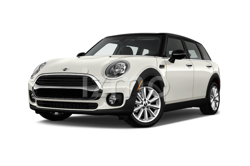 Stock pictures of low aggressive front three quarter view of 2016 MINI CLUBMAN Cooper 5 Door wagon Low Aggressive