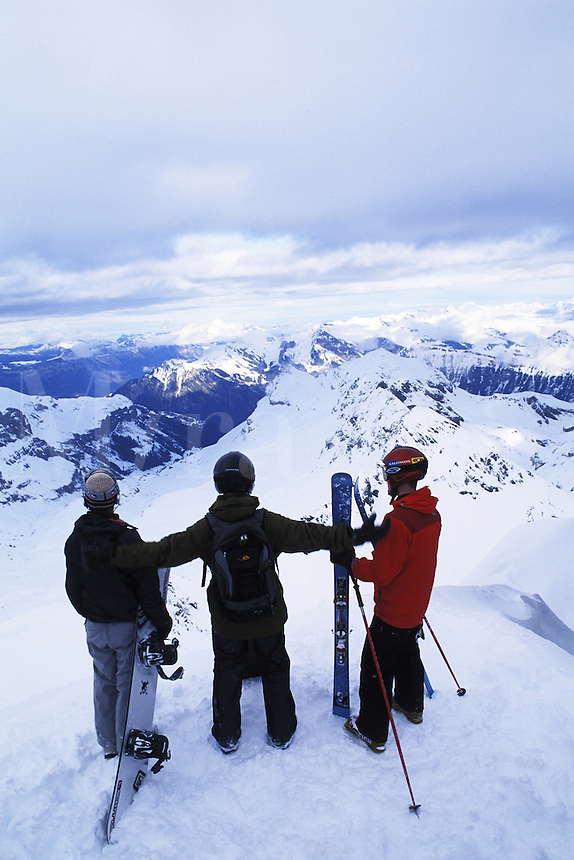 Skiers on top of the Swiss Alps at Schilthorn in Murren, Switzerland