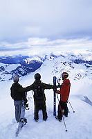 Skiers on top of the Swiss Alps at Schilthorn in Murren, Switzerland