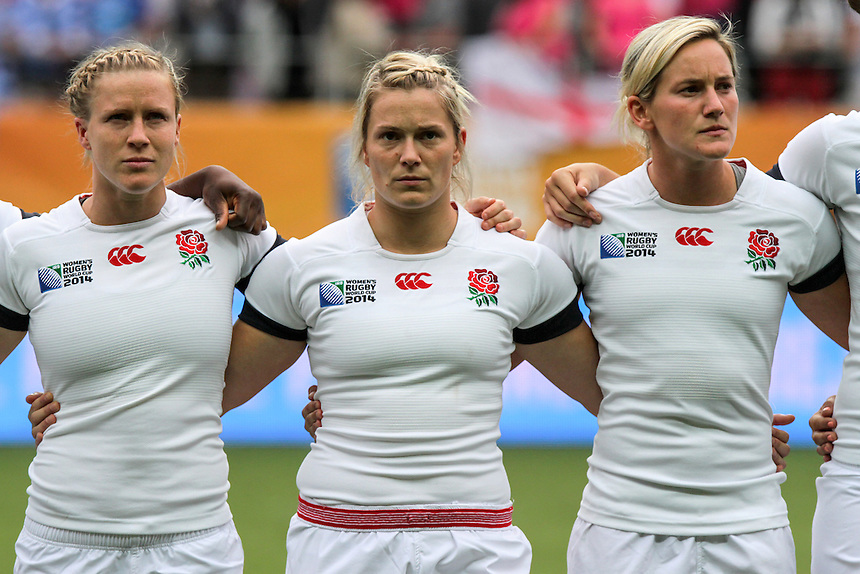 Danielle Waterman, Rachael Burford and Claire Allan during the anthems. WRWC England v Canada, World Cup Final at Stade Jean Bouin, Avenue du Général Sarrail, Paris, France, on 17th August 2014