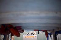 "A sticker reads, ""Jesucristo Vive"" or ""Jesus Christ Lives"" on a ferry boat on Lake Atitlán, Guatemala."