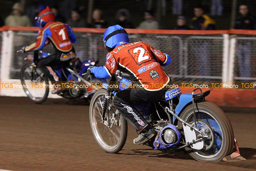 Heat 10: Andreas Jonsson (red) and Leigh Lanham on their way to a 5-1 - Lakeside Hammers vs Peterborough Panthers - Craven Shield Speedway at Arena Essex - 28/03/08 - MANDATORY CREDIT: Gavin Ellis/TGSPHOTO. Self-Billing applies where appropriate. NO UNPAID USE. Tel: 0845 094 6026
