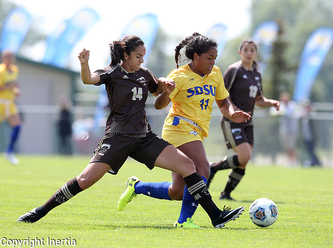 BROOKINGS, SD - AUGUST 13: Leah Manuleleua #11 from South Dakota State pushes the ball past Haydn Christensen Burdeny #14 from Manitoba during the first half of their exhibition match Sunday afternoon at Fishback Soccer Park in Brookings. (Photo by Dave Eggen/Inertia)