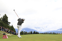 Tyrrell Hatton (ENG) tees off the 7th tee during Sunday's Final Round of the 2017 Omega European Masters held at Golf Club Crans-Sur-Sierre, Crans Montana, Switzerland. 10th September 2017.<br /> Picture: Eoin Clarke | Golffile<br /> <br /> <br /> All photos usage must carry mandatory copyright credit (&copy; Golffile | Eoin Clarke)