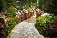 Pathway and bridge in Betty Ford Alpine Gardens. Vail, Colorado