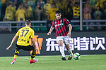 AC Milan Defender Gustavo Gomez (R) plays against Borussia Dortmund Defender Erik Durm (L) during the International Champions Cup 2017 match between AC Milan vs Borussia Dortmund at University Town Sports Centre Stadium on July 18, 2017 in Guangzhou, China. Photo by Marcio Rodrigo Machado / Power Sport Images