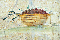 Roman Fresco of a fruit from The Large Columbarium in Villa Doria Panphilj, Rome. A columbarium is usually a type of tomb with walls lined by niches that hold urns containing the ashes of the dead.  Large columbaria were built in Rome between the end of the Republican Era and the Flavio Principality (second half of the first century AD).  Museo Nazionale Romano ( National Roman Museum), Rome, Italy.