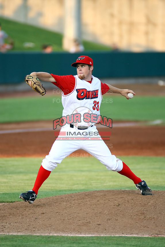 July 10th 2008:  Jayson Miller (3-0) of the Orem Owlz, Rookie Class-A affiliate of the Los Angeles Angels of Anaheim, tossed seven scoreless frames to extend his streak to 23 consecutive innings during a game at Home of the Owlz Stadium in Orem, UT.  Photo by:  Matthew Sauk/Four Seam Images