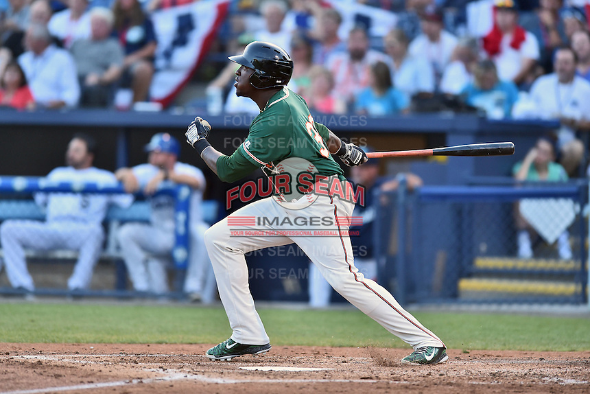 Greensboro Grasshoppers designated hitter K.J. Woods (32) swings at a pitch during the South Atlantic League All Star Game on June 23, 2015 in Asheville, North Carolina. The North Division defeated the South 7-5(Tony Farlow/Four Seam Images)