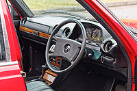 The steering wheel and dashboard of the Mercedes W123 series 230TE estate version, outside the Penderyn Whisky Distillery in south Wales, UK. Tuesday 19 June 2018