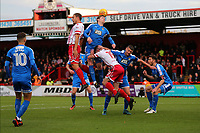 Danny Newton of Stevenage tangles with Carl Dickinson of Notts County during Stevenage vs Notts County, Sky Bet EFL League 2 Football at the Lamex Stadium on 11th November 2017
