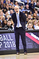 Washington, DC - MAR 11, 2018: Rhode Island Rams head coach Dan Hurley is not happy after a no call on the sidelines during the Atlantic 10 men's basketball championship between Davidson and Rhode Island at the Capital One Arena in Washington, DC. (Photo by Phil Peters/Media Images International)