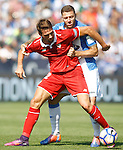 CD Leganes' David Timor (r) and Sevilla FC's Franco Vazquez during La Liga match. October 15,2016. (ALTERPHOTOS/Acero)