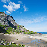 Scenic summer view of Bunes beach, Moskenesoy, Lofoten islands, Norway.