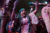 Singing and dancing is a part of Holi celebration at Banke Bihari Temple in Vrindavan, 8th March 2012, Uttar Pradesh, India.
