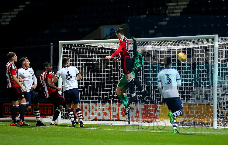 David Parkhouse of Sheffield United under 18's has a header saved during the FA Youth Cup 3rd Round match at Deepdale Stadium, Preston. Picture date: November 30th, 2016. Pic Matt McNulty/Sportimage