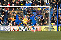 Liam Trotter of AFC Wimbledon hooks a chance over the bar during the Sky Bet League 1 match between AFC Wimbledon and Bristol Rovers at the Cherry Red Records Stadium, Kingston, England on 17 February 2018. Photo by Carlton Myrie.