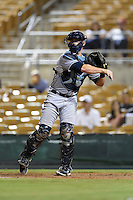Peoria Javelinas catcher Justin O'Conner (10) during an Arizona Fall League game against the Glendale Desert Dogs on October 13, 2014 at Camelback Ranch in Phoenix, Arizona.  The game ended in a tie, 2-2.  (Mike Janes/Four Seam Images)