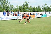 KAATSEN: SINT JACOB: 19-06-2016, Heren Hoofdklasse Vrije formatie winnaar werden Gert-Anne van der Bos (mist de bal), Taeke Triemstra en Daniël Iseger, ©foto Martin de Jong